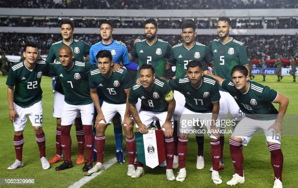 Members of Mexico's national football team pose ahead of the friendly football match between Mexico and Chile at the La Corregidora stadium in...