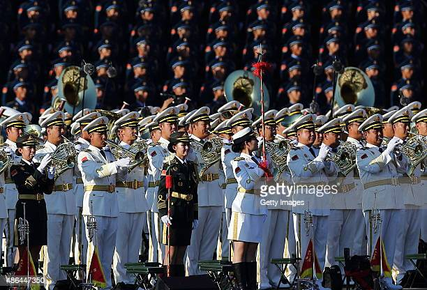 Members of military chorus and joint military band attend the commemoration activities in military parade at Tian'anmen Square on September 3 2015 in...
