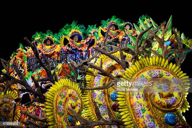Members of Mocidade Samba School during their parade at 2014 Brazilian Carnival at Sapucai Sambadrome on March 03 2014 in Rio de Janeiro Brazil Rio's...