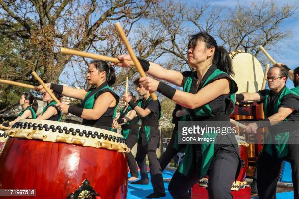 Members of Montevideo Taiko seen playing drums during the Japan Fest 2019 in Montevideo. Every year, the Japanese Embassy in Uruguay organizes the...