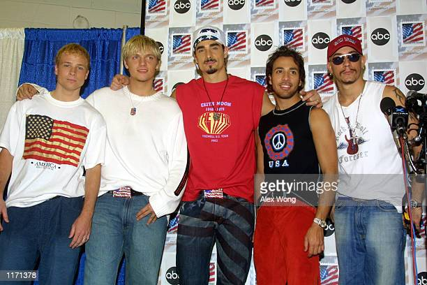 Members of music group Backstreet Boys Brian Littrell Nick Carter Kevin Richardson AJ McLean and Howie Dorough attend the United We Stand benefit...