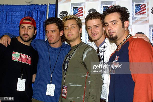 Members of music group ''NSync LR_ Joey Fatone JC Chasez Lance Bass Justin Timberlake and Chris Kirkpatrick attend the United We Stand benefit...
