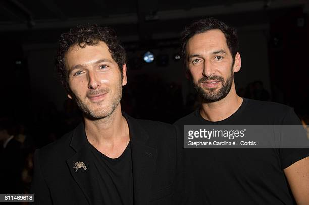 Members of Musical Group AaRON Simon Buret and Olivier Coursier attend the Mabille show as part of the Paris Fashion Week Womenswear Spring/Summer...