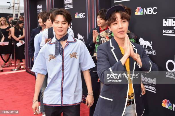 Members of musical group BTS attend the 2018 Billboard Music Awards at MGM Grand Garden Arena on May 20 2018 in Las Vegas Nevada