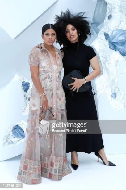 Members of musical group Ibeyi : Lisa-Kainde Diaz and her sister Naomi Diaz attend the Dior Homme Menswear Spring Summer 2020 show as part of Paris...