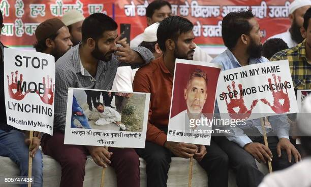 Members of Muslim community and family members of mob lynching victims who were gathered during the protest against mob lynching of Muslim and Dalit...