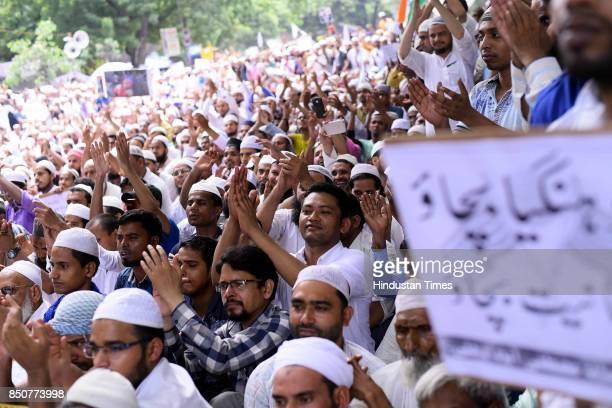 Members of Muslim community protest against the genocide of Rohingya Muslims in Myanmar at Jantar Mantar on September 21 2017 in New Delhi India