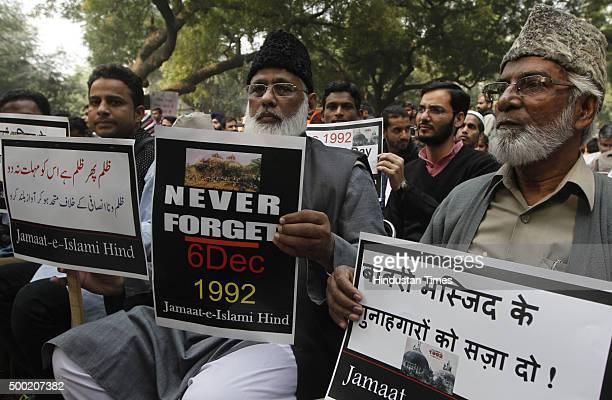 Members of Muslim organization JamaatEIslami Hind protest on the anniversary of Babri Masjid demolition at Jantar Mantar on December 6 2015 in New...