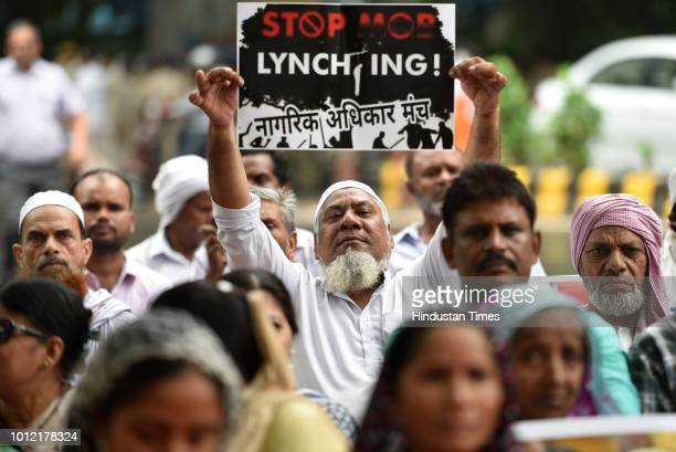 Members of Nagrik Adhikar Manch protest against increasing incidents of mob lynching over the past couple of years at Parliament Street on August 6...