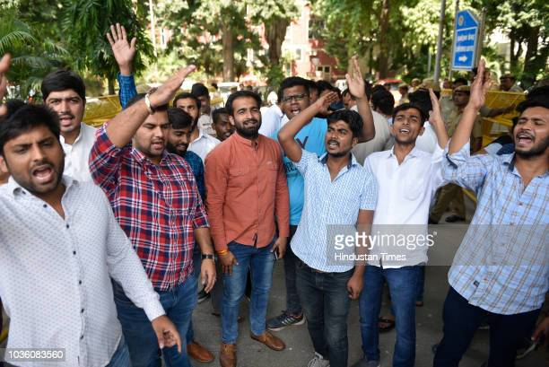 Members of National Students' Union of India seen showing a letter to administration of Delhi University to cancel the admission of Ankiv Basoya at...