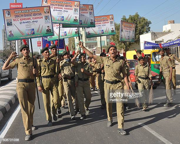 Members of NCC holding placards during Swachh Bharat Abhiyan National Cadet Corps take part in an awareness to Swachh Bharat Abhiyan in Bikaner