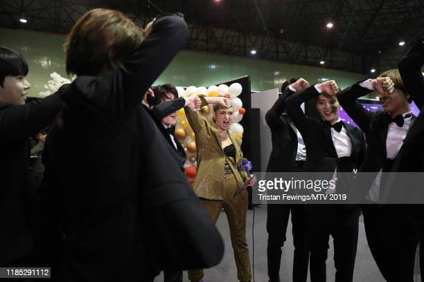 Members of NCT 127 are interviewed backstage during the MTV EMAs 2019 at FIBES Conference and Exhibition Centre on November 03 2019 in Seville Spain