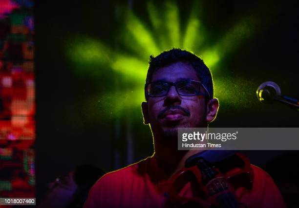 Members of Neeraj Arya's Kabir Cafe music band perform during 'Malhar 2018' festival at St Xavier's College at Fort on August 15 2018 in Mumbai India