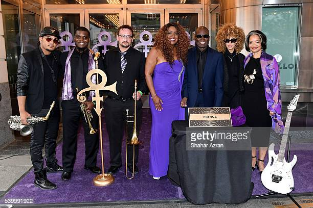 Members of New Power Generation singer Meli'sa Morgan saxophonist Maceo Parker singer Andy Allo and president and chief executive officer of the...
