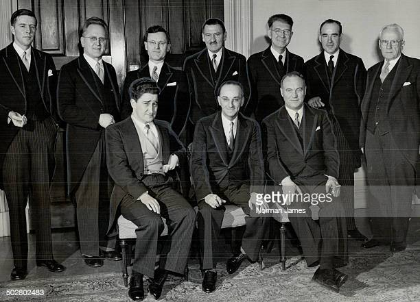 Members of Newfoundland's provisional cabinet shown here include; front row; left to right: W. J. Keough; Premier J. R. Smallwood; H. W. Quinton....