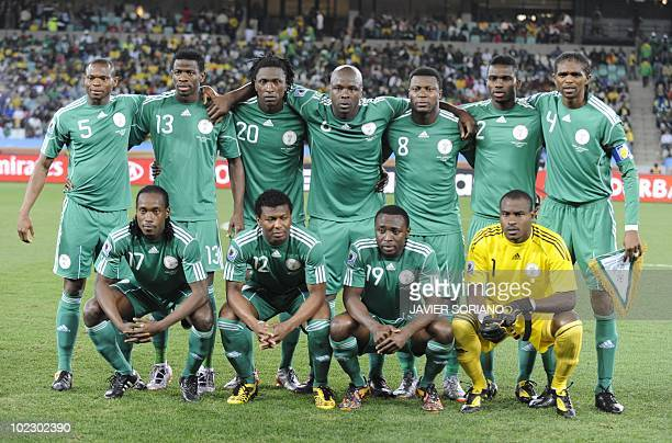 Members of Nigeria's football team pose before the start of the Group B first round 2010 World Cup football match between Nigeria and South Korea on...