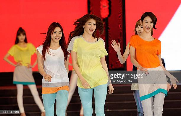 Members of Nine Muses showcases a design by Eight Seconds at the KPOP Fashion Concert on March 11 2012 in Seoul South Korea