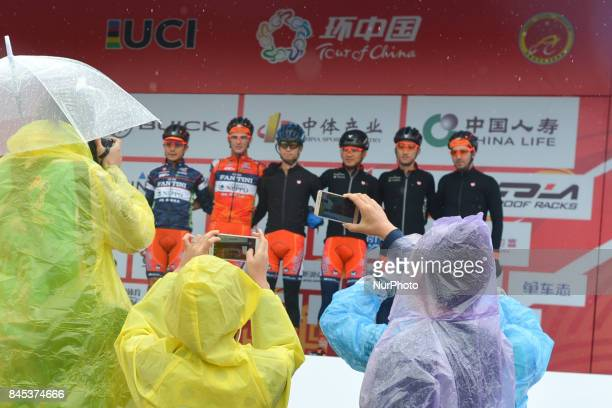 Members of Nippo-Vini Fantini team at the team presentation ahead of the opening stage of the 2017 Tour of China 1, the 156km from Fengning -...
