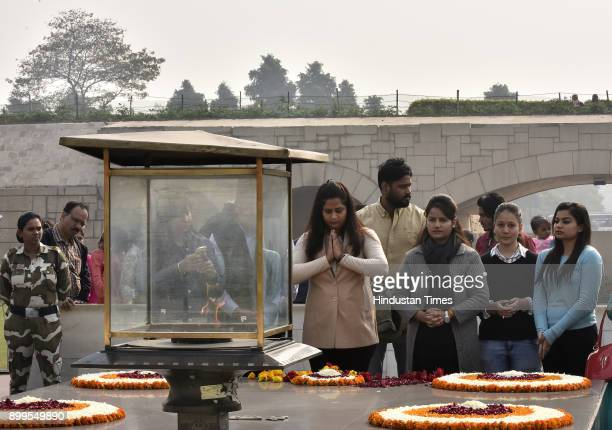 Members of Nirbhaya Jyoti trust pray to the Soul of Nirbhaya the victim of a fatal gangrape at Rajghat on December 29 2017 in New Delhi India Its the...