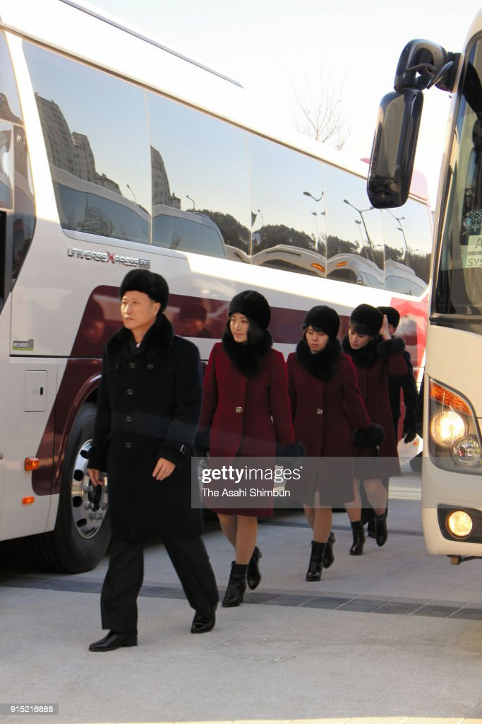 Members of North Korean art troupe are seen on arrival at the Gangneung Art Center for a rehearsal on February 7, 2018 in Gangneung, South Korea.