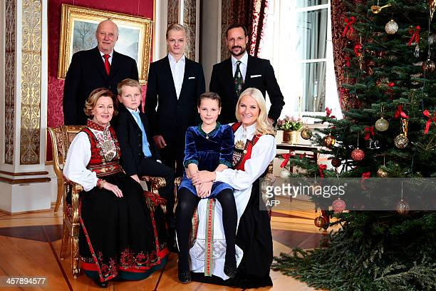 Members of Norway's royal family King Harald Queen Sonja Prince Sverre Magnus Marius Borg Hoiby Princess Ingrid Alexandra Crown Prince Haakon and...