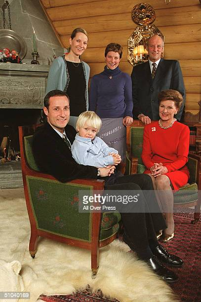 Members Of Norway's Royalty From Back Left, Mette-Marit, Princess Martha Louise And King Harald, And In Front, Crown Prince Haakon With His Son...