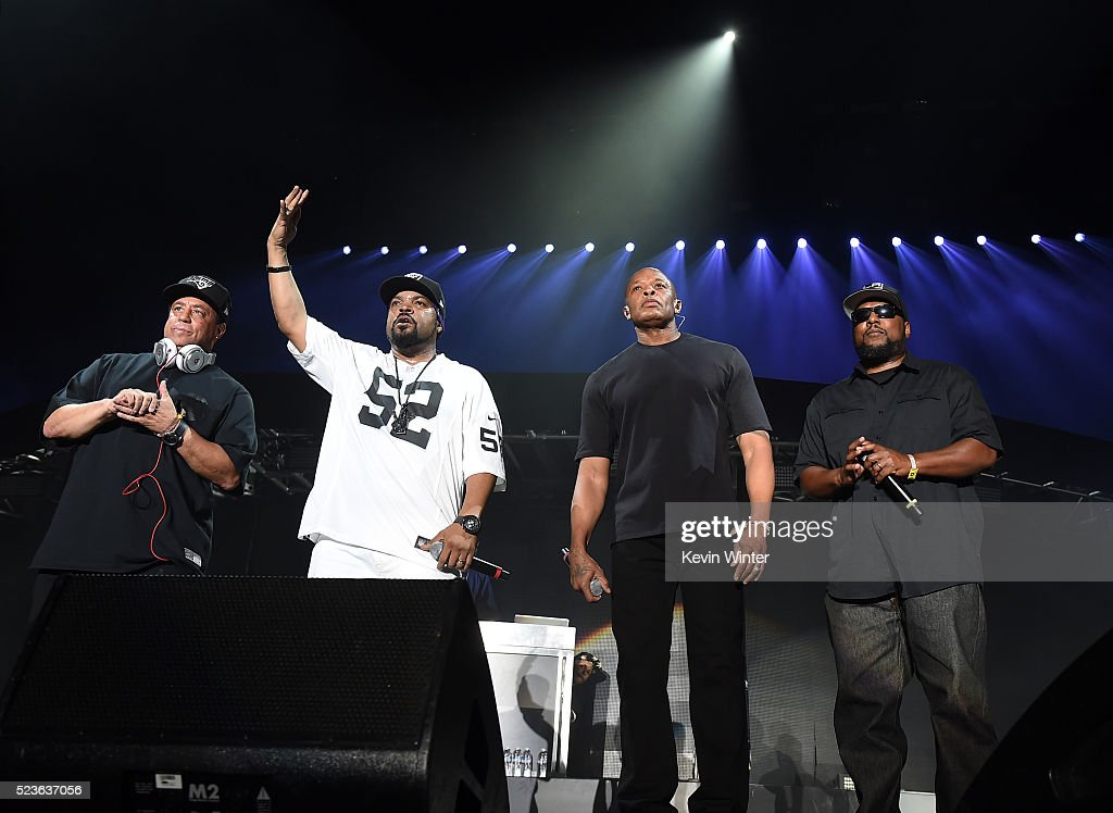Members of N.W.A. DJ Yella, Ice Cube, Dr. Dre and MC Ren perform onstage during day 2 of the 2016 Coachella Valley Music & Arts Festival Weekend 2 at the Empire Polo Club on April 23, 2016 in Indio, California.