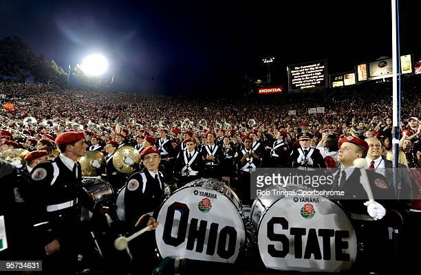 Members of of the Ohio State Buckeyes band look on against the Oregon Ducks in the 96th Rose Bowl played on January 1, 2010 in Pasadena, California....