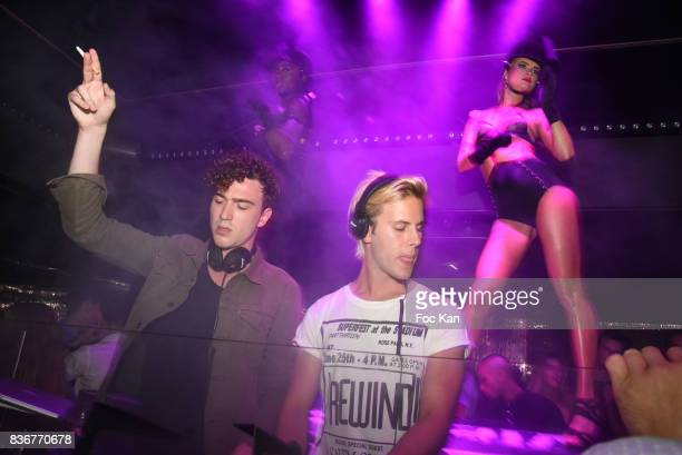 Members of Ofenbach DJS band Cesar Laurent de Rummel and Dorian Lauduique perform during the Ofenbach Party hosted by Virgin Radio at VIP Room Saint...