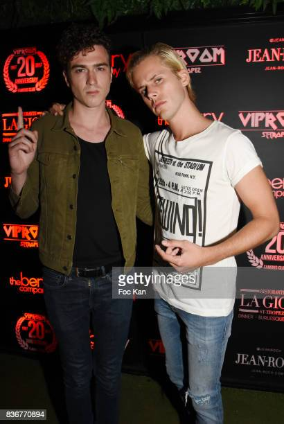 Members of Ofenbach DJS band Cesar Laurent de Rummel and Dorian Lauduique pose during the Ofenbach Party hosted by Virgin Radio at VIP Room Saint...