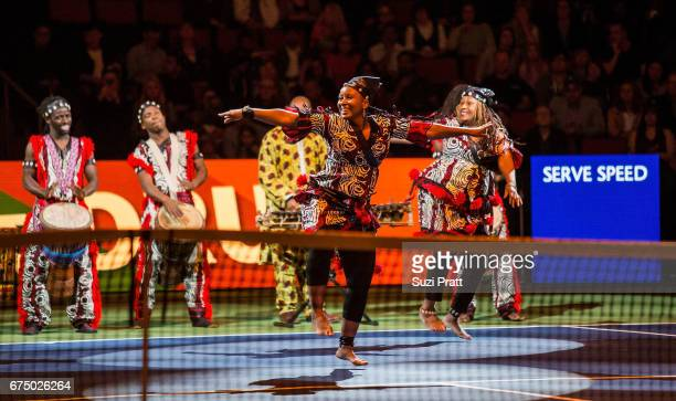 Members of One World Dance and Drum perform at the Match For Africa 4 exhibition match at KeyArena on April 29, 2017 in Seattle, Washington.