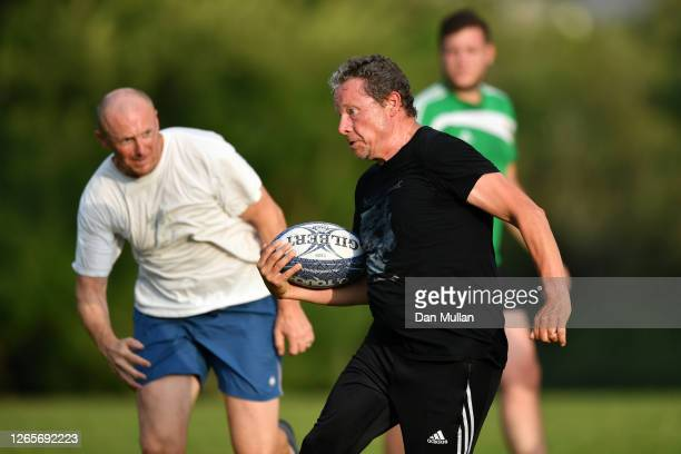 Members of OPM Touch Rugby Plymouth return to action for this first time since lockdown at Central Park on August 12 2020 in Plymouth England Stage C...