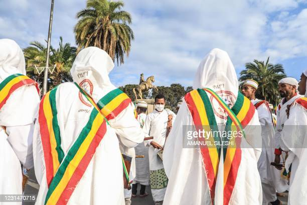 Members of Orthodox Church sings in front of Menelik square in Addis Ababa, Ethiopia, on March 2 2021. - The Battle of Adwa was the climactic battle...