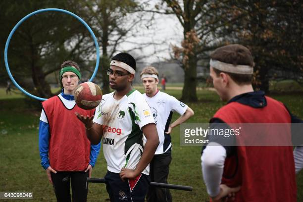 Members of Oxford University Quidditch team take part in a training session on February 8 2017 in Oxford England Quidditch is the fictional game...