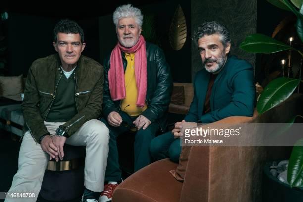 Members of 'Pain & Glory' Antonio Banderas, Pedro Almodovar & Leonardo Sbaraglia poses for a portrait on May 19, 2019 in Cannes, France.