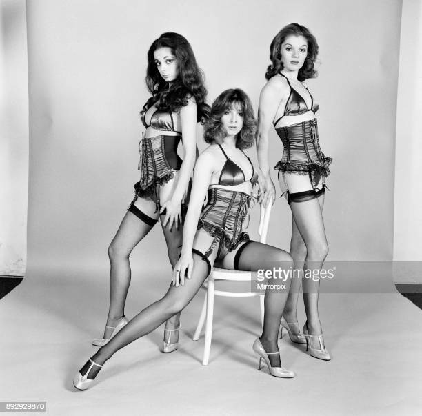 Members of Pan's People Dance Troupe model lingerie for the Mirror Studio Pix London 28th October 1974 Pictured dancers Louise Clarke Dee Dee Wilde...