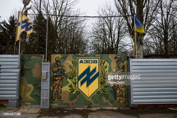 Members of paramilitary group Azov Battalion train in a base, a former holiday resort near Mariupol as the Azov batallion re-join the frontline...