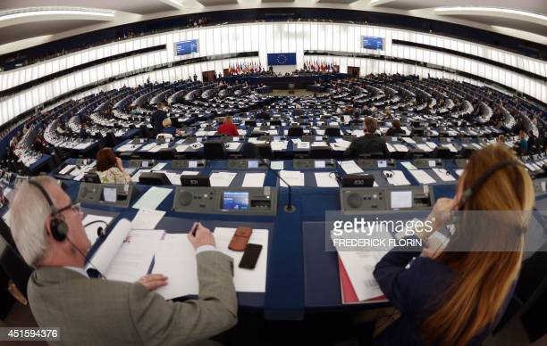 EU Members of Parliament attend a debate on the work of the outgoing Greek Presidency of Europe on July 2 2014 at the European Parliament in...