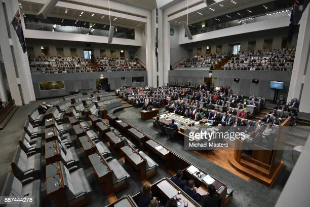 Members of Parliament voting on the marriage equlity bill at Parliament House on December 7 2017 in Canberra Australia The historic bill was passed...