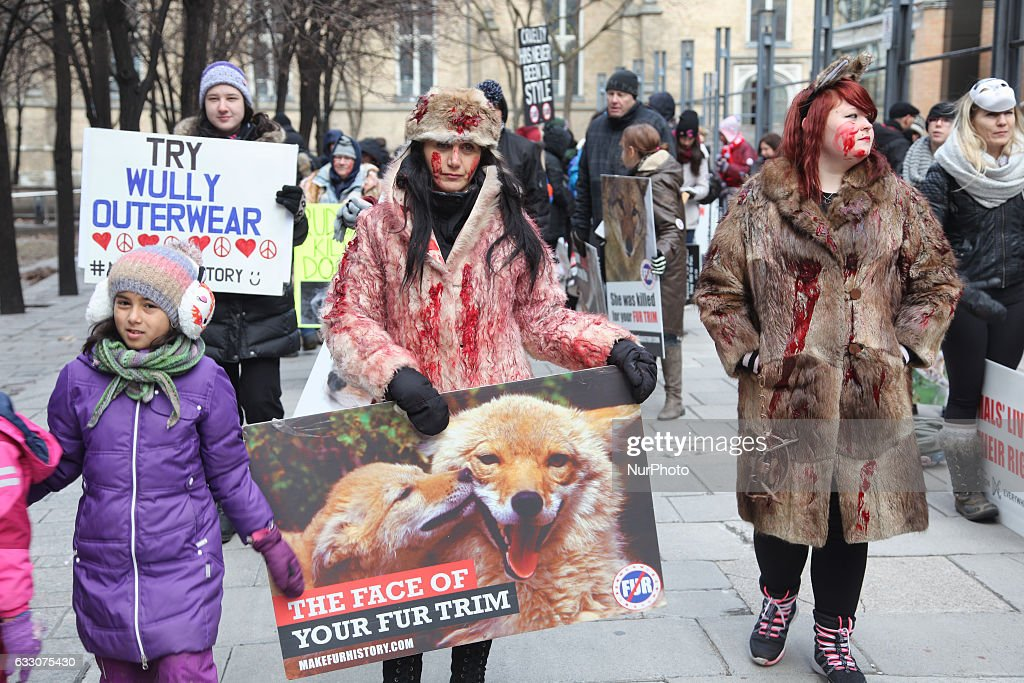 Anti-Fur protest in Toronto, Canada : News Photo