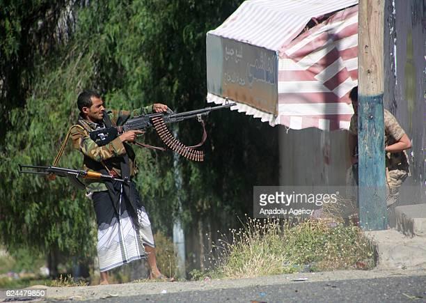 Members of People's Resistance Forces loyal to President of Yemen Abd Rabbuh Mansur Hadi attack Houthi sites in Taiz province Yemen on November 19...