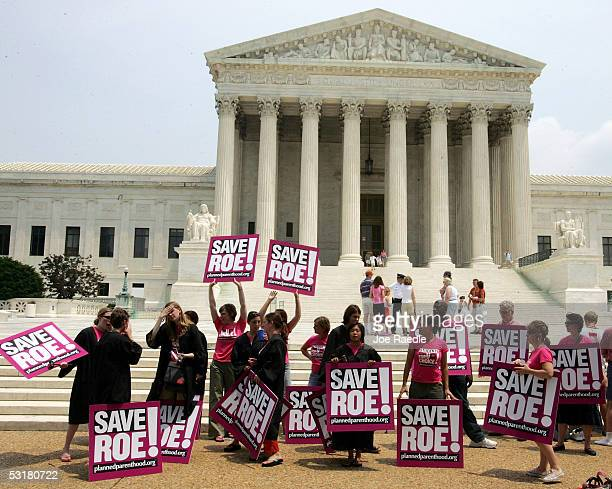 Members of Planned Parenthood protests in front of the Supreme Court on the day that Sandra Day O'Connor the first woman on the Supreme Court and a...