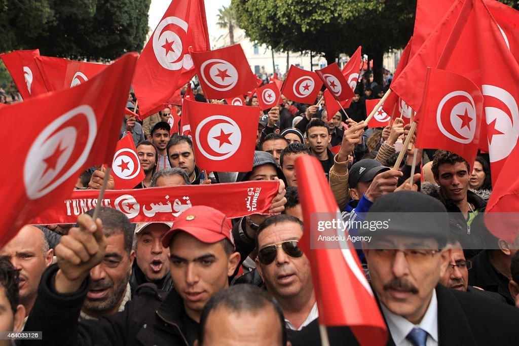 'Joint march against terror' in Tunisia : Nieuwsfoto's