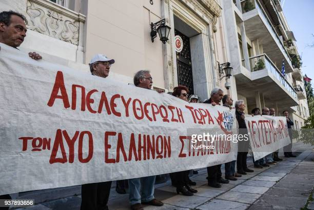 Members of Popular Unity Party protest outside the Turkey empassy in Athens on Saturday 24 of March about the Turkeys invasion in Afrin an about the...