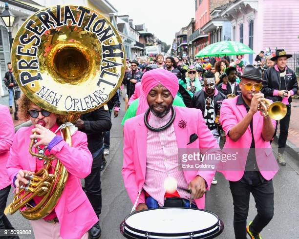 Members of Preservation Hall Jazz Band Arcade Fire and RAM of Haiti parades through the French Quarter during the Inaugural Krewe du Kanaval on...