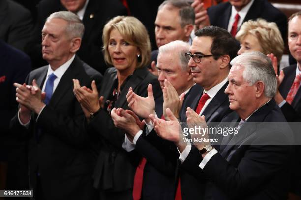 Members of President Trump's cabinet Secretary of Defense Gen James Mattis Education Secretary Betsy DeVos Treasury Secretary Steve Mnuchin and...
