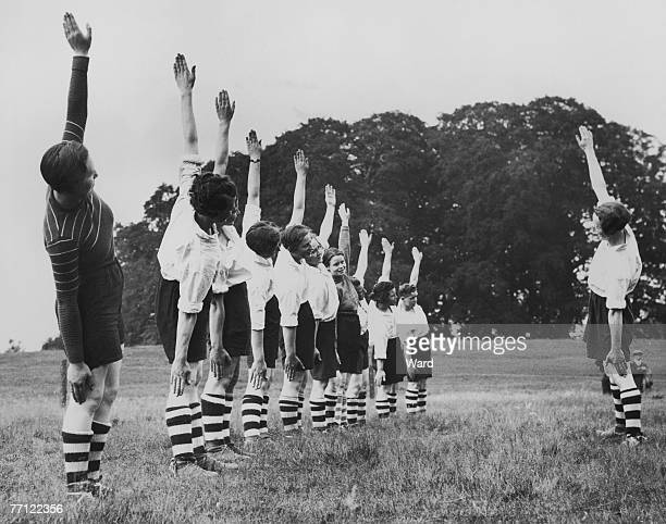 Members of Preston Ladies' Football Club at a training session in Bedford during a tour of the south of England 20th July 1936
