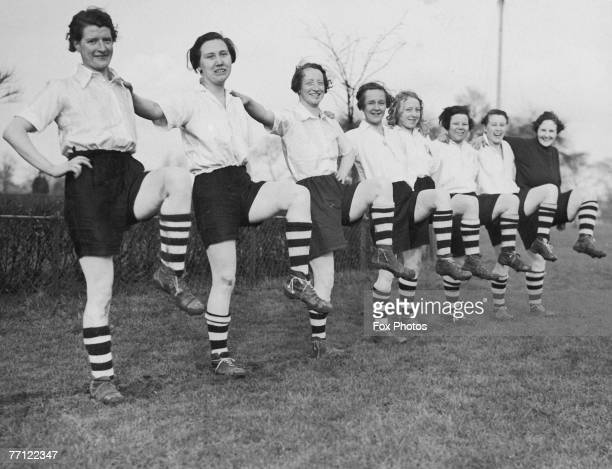 Members of Preston Ladies' Football Club carying out leg exercises during practice in Preston Lancashire 31st March 1937 The team is preparing for a...