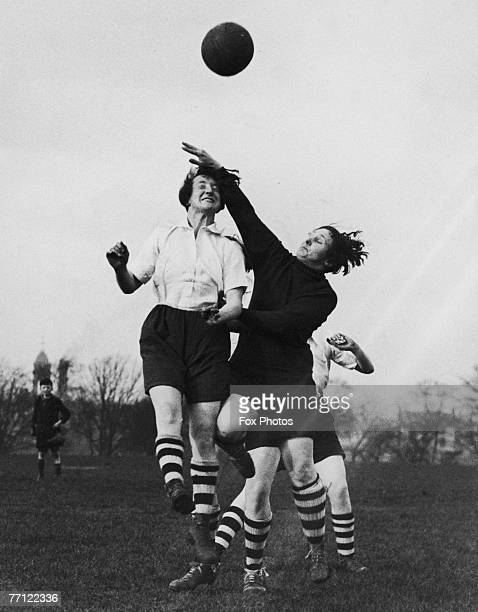 Members of Preston Ladies' Football Club vie for the ball during practice in Preston Lancashire 31st March 1937 The team is preparing for a match...