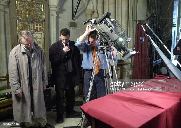 Members of Prince Edwards production company Ardent filming preparations for the Maundy Service at Westminster Abbey in central London tomrrow The...
